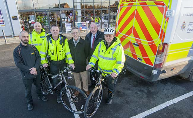 Picture: Left to right: Rob Curtiss- Halfords sales advisor; Sgt 1899 Phil Baker; PC 610 Mick Curtiss; Councillor Ian Galbraith; Councillor Peter Gibson; PCSO 6565 Glenn Devlin.