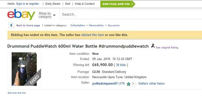 Bottle of Drummond puddle water raises over £60,000 for flood victims in Cumbria