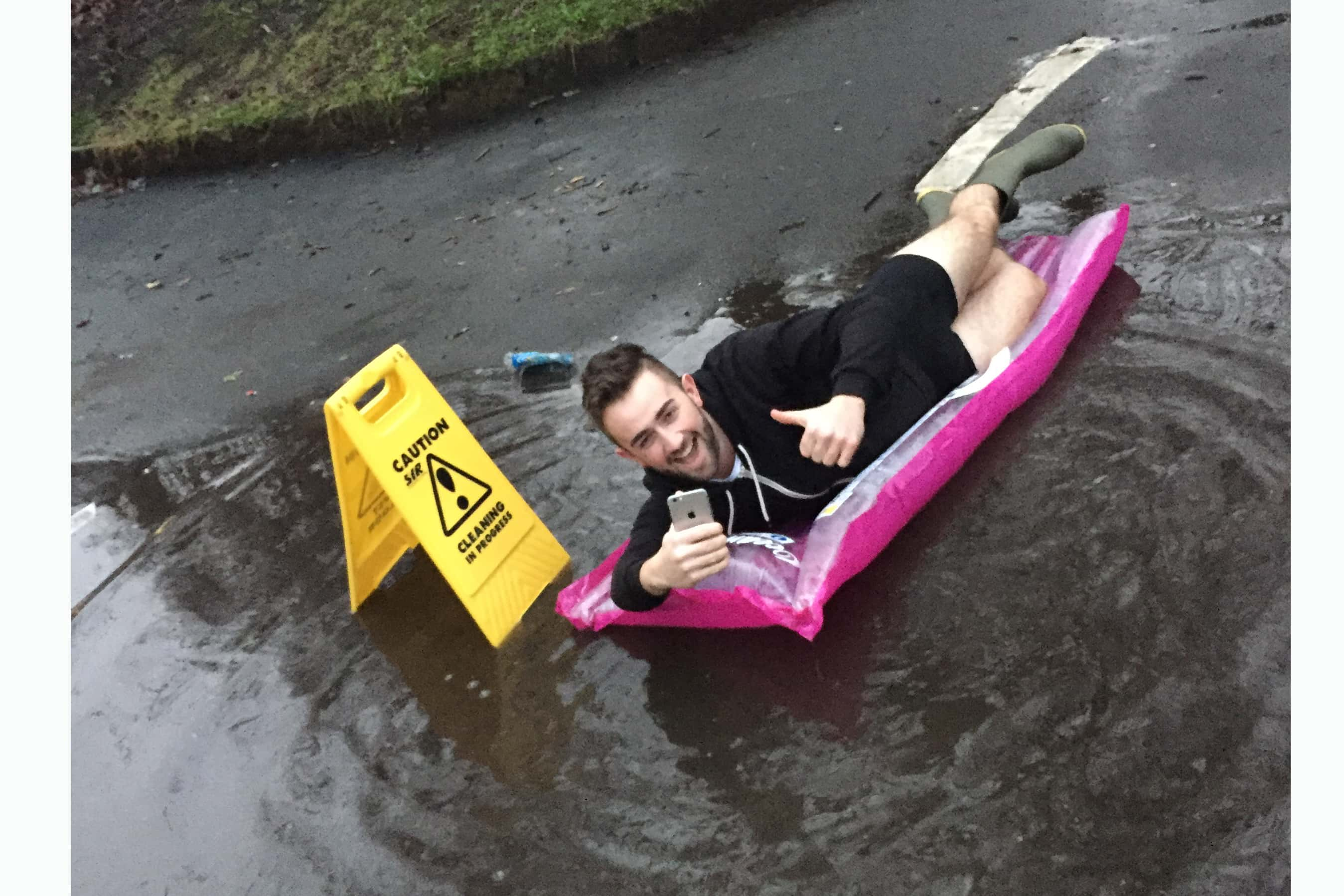 Puddle in Newcastle goes viral after live stream set up