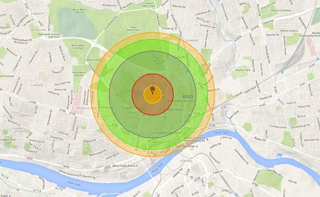 Photo: Impact of 10 ktn bomb blast/ screen grab: nukemap.