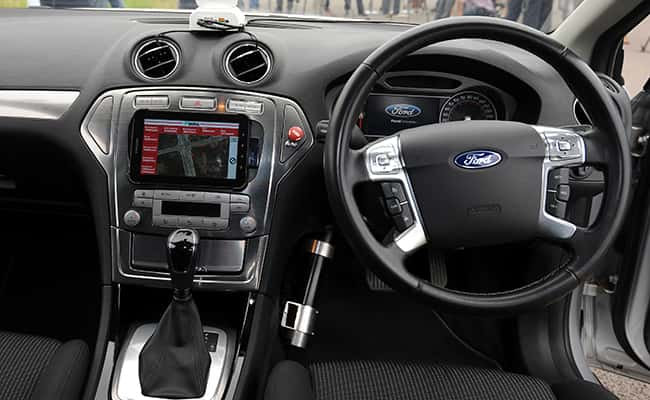 The interior of a driverless car at the headquarters of motor industry research organisation MIRA, as some of Britain's largest motor insurance firms have formed an alliance to examine the potential impact of driverless cars in the UK/Picture by: Rui Vieira/PA Wire/Press Association Images.