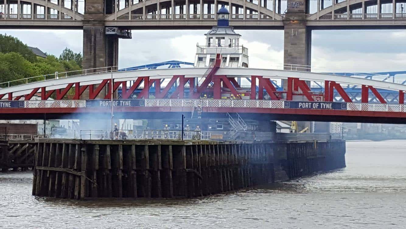 Fire on Newcastle's Swing Bridge (Photo Credit: Jonny Drew)