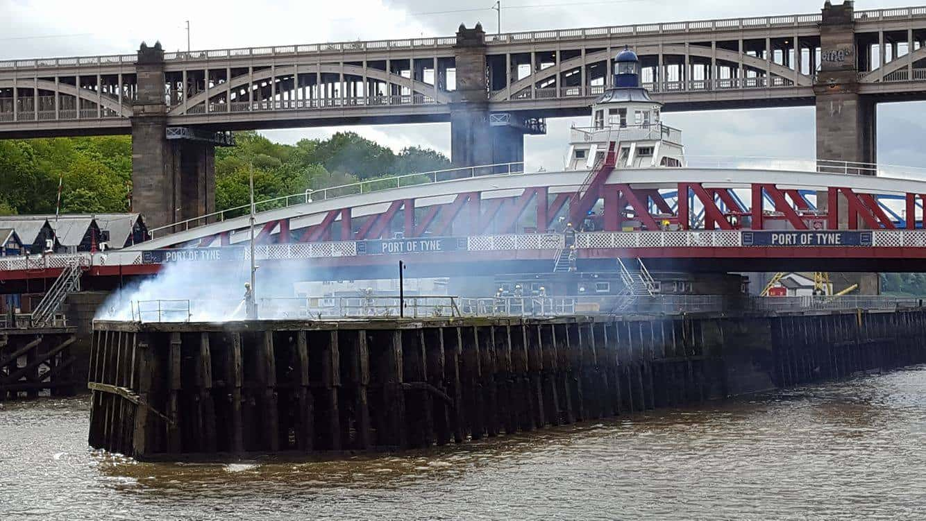 Smoke can be seen billowing from Newcastle's Swing Bridge over the River Tyne (Photo Credit: Jonny Drew)