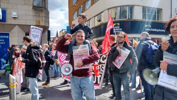 William Jarrett, chair of the North East section of the National Shop Stewards Network  (NSSN) showing solidarity at the rally/Sophie Dishman.