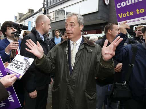 Ukip leader Nigel Farage at Northumberland Street, Newcastle, during his Ukip's referendum bus tour./Photo by: Picture by: Owen Humphreys / PA Wire/Press Association Images.