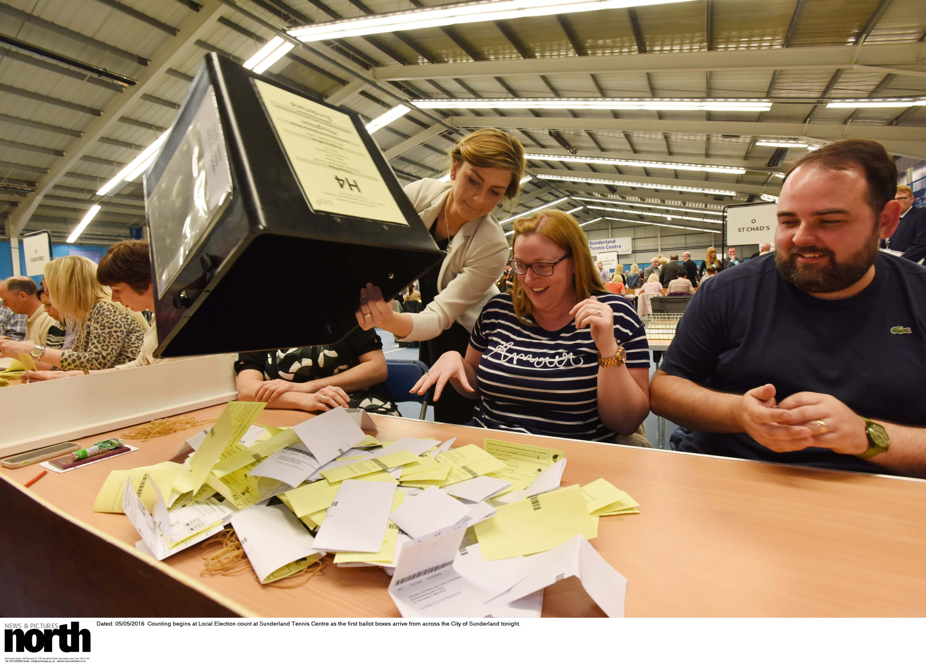 Dated: 05/05/2016  Counting begins at Local Election count at Sunderland Tennis Centre as the first ballot boxes arrive from across the City of Sunderland tonight.