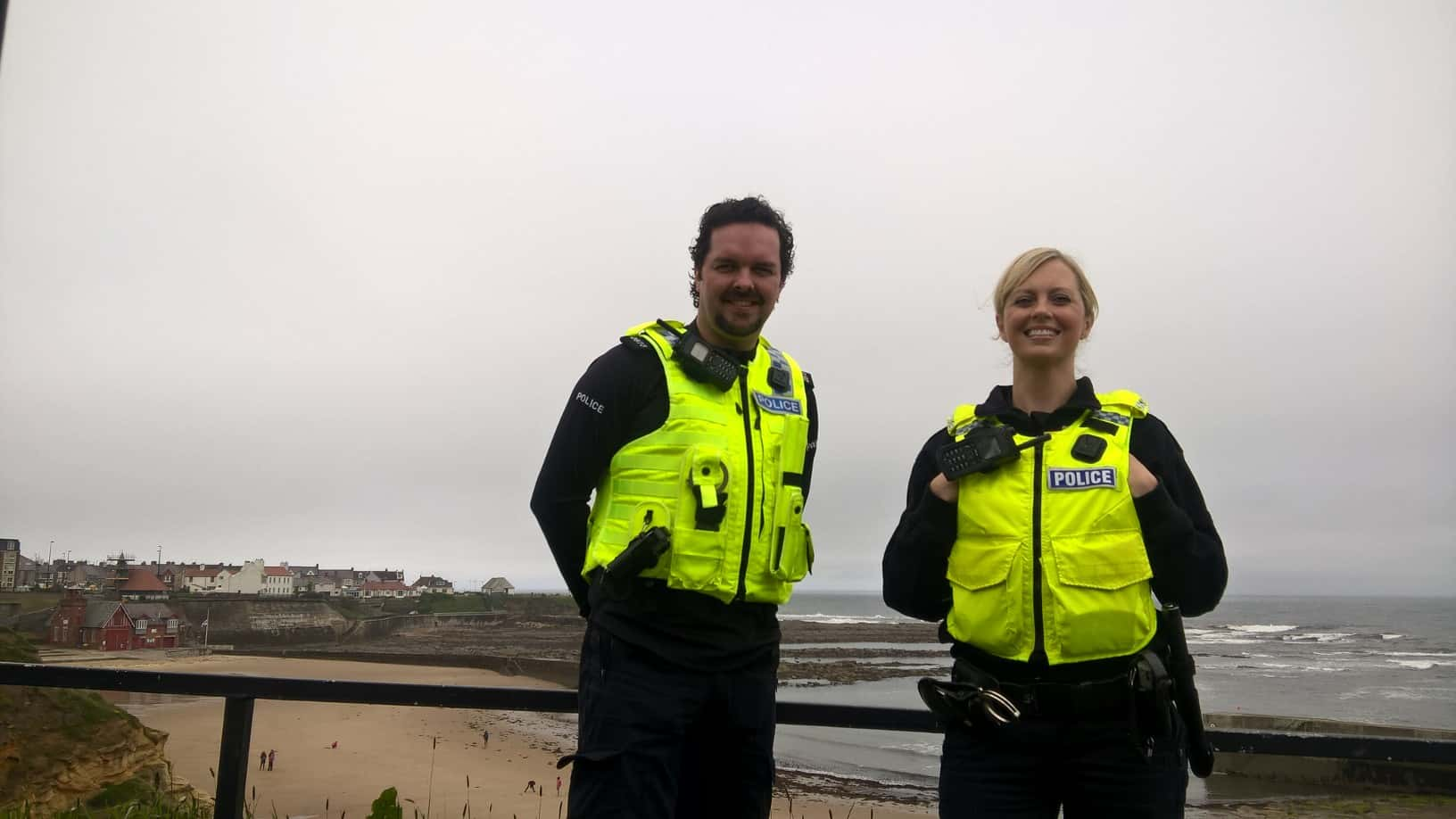 PCs Dave Williams and Caroline Brown at Cullercoats Bay, who are part of the initiative.