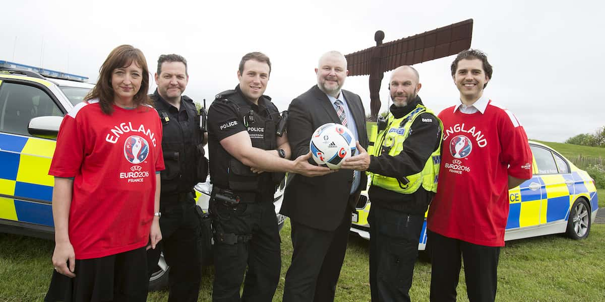 Picture shows RSGB North East Chairman Paul Watson, holding the ball, with road safety officers Angela Burnett and Peter Slater, plus road policing officers from Northumbria Police and the Cleveland and Durham Specialist Operations Unit.