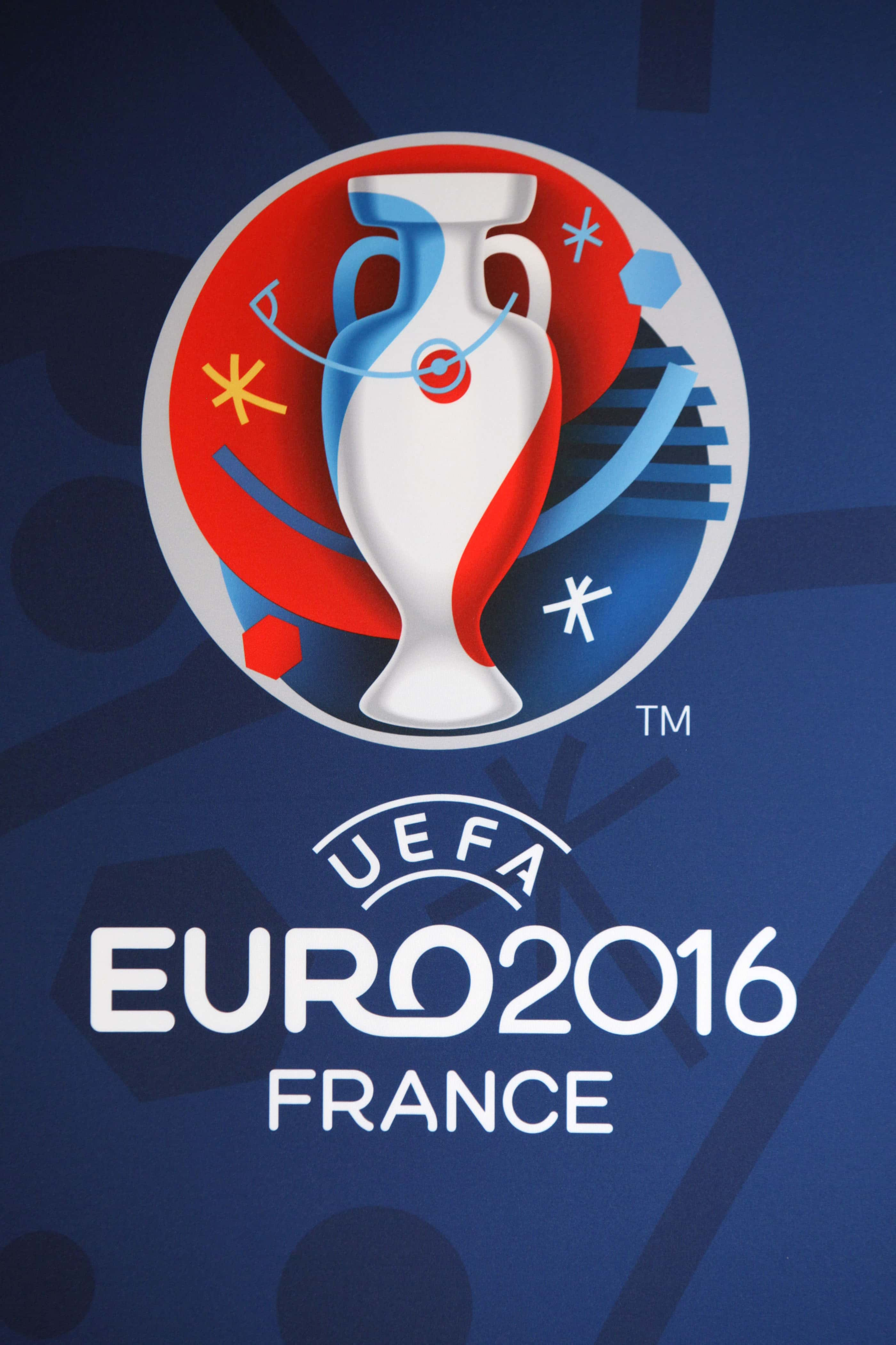The logo of the EURO2016 soccer tournament is displayed, in Paris, Wednesday, June 26, 2013. The Euro2016 will take place in France from June 10 to July 10 2016. (AP Photo/Thibault Camus)