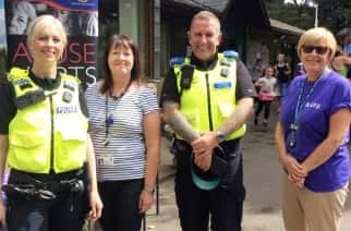 Pictured at a SAFE week information display at the Rising Sun Farm are PC Caroline Brown, Cllr Alison Waggott-Fairley, PCSO Brian Phillips and Susan Meins from North Tyneside Council/by North Tyneside Council.