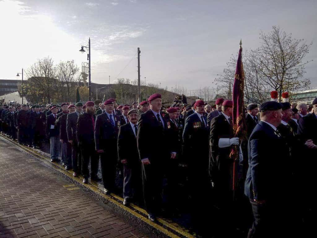 Members of the Sunderland Parachute Regiment Association waiting to march past the saluting dais. Image by Ryan Lim