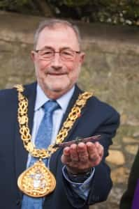 The Mayor of Sunderland holds a replica of Claude's Morane Bullet.