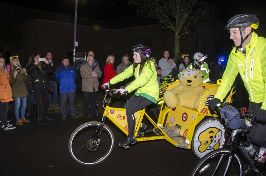 Team Rickshaw rides into Hartlepool with Olivia leading the way.