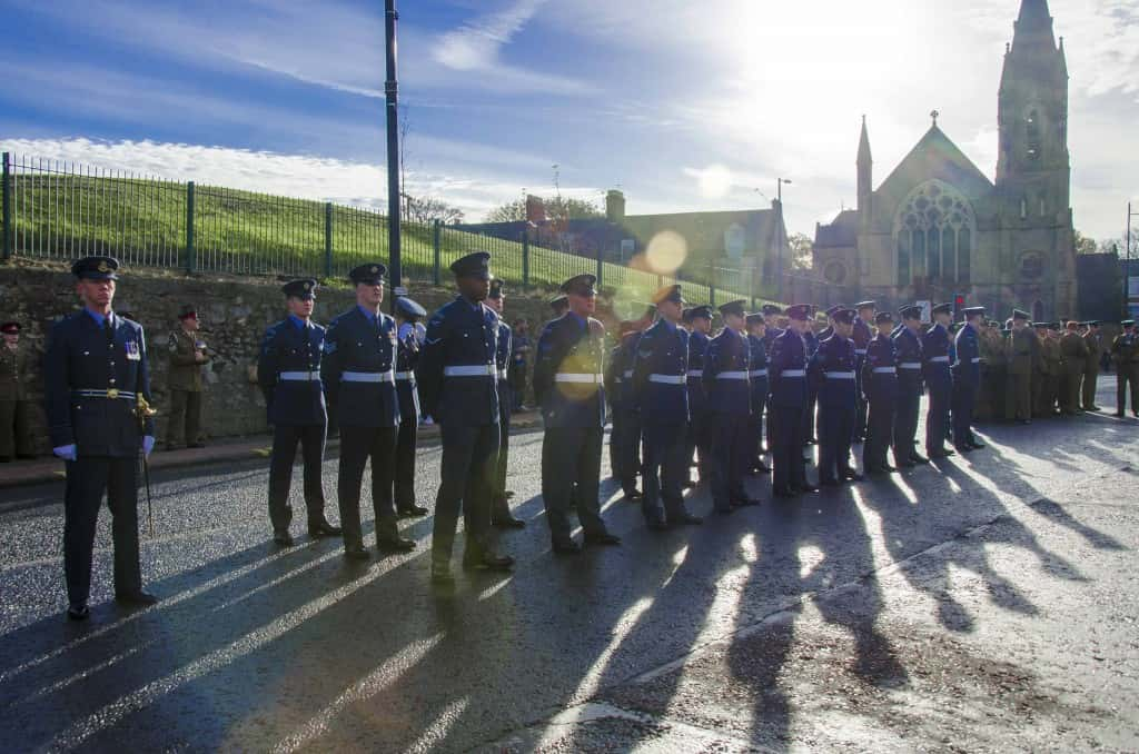 Airmen of RAF Boulmer in file outside the Civic Centre waiting to march in.