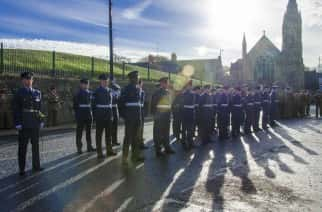 Airmen of RAF Boulmer in file outside the Civic Centre waiting to march in. Image by Ryan Lim