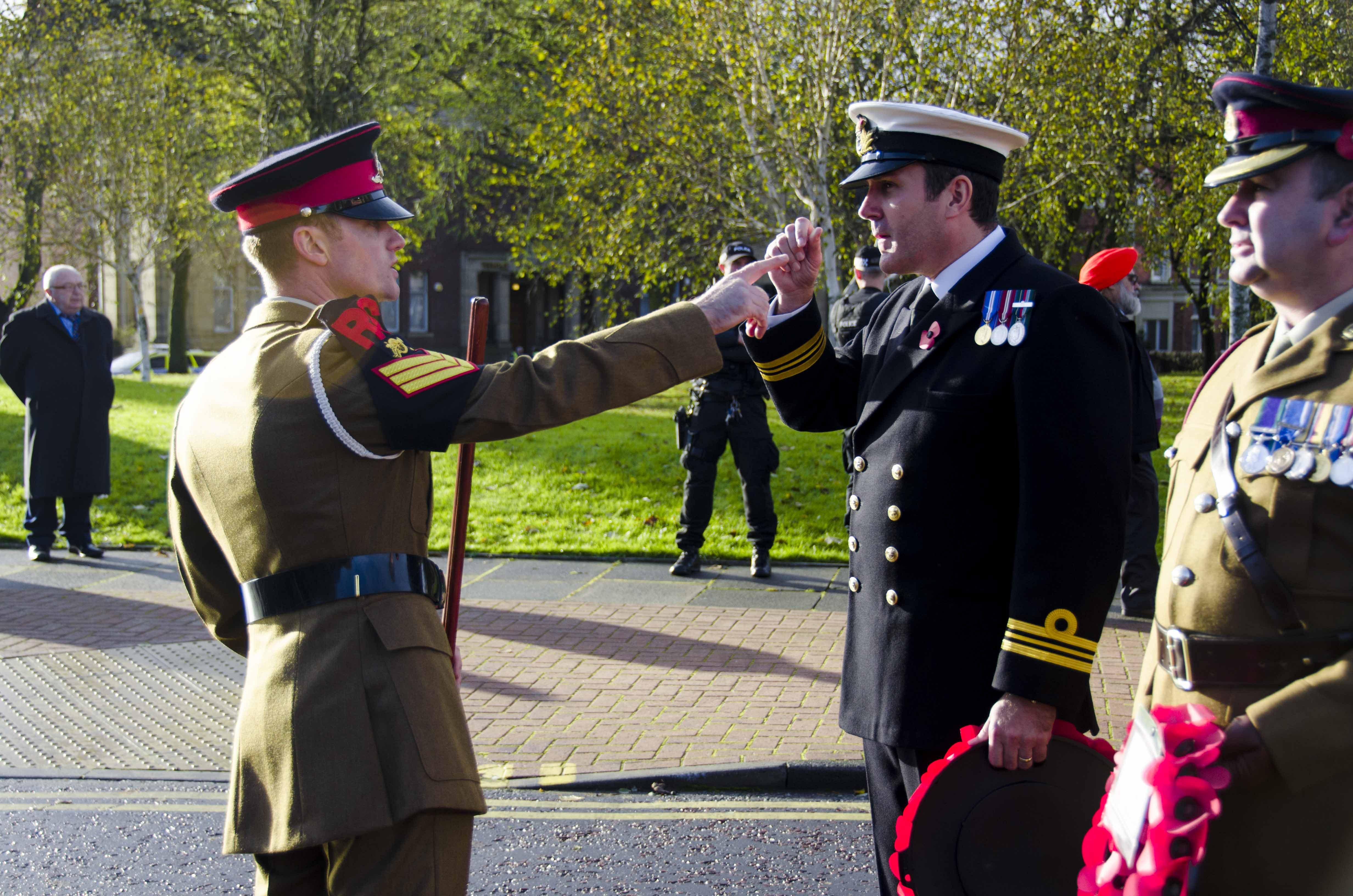 WO1 Sean Armstrong inspects the parade before marching off.