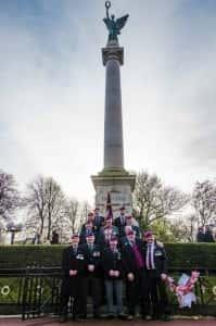 Members of the Sunderland Parachute Regiment Association gather around the Cenotaph.