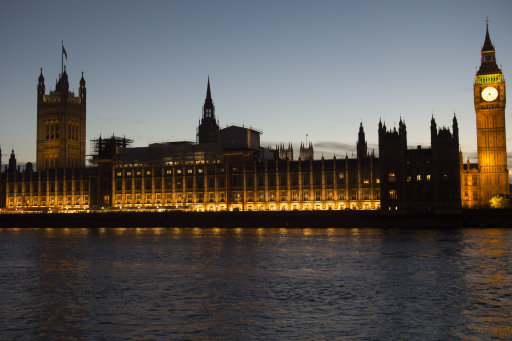 A general view of the Houses of Parliament, Westminster, London.