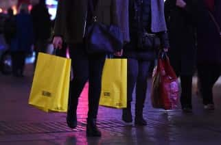 Shoppers on Oxford street in London, as the run up to Christmas begins.