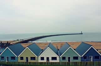 Roker Pier and houses on an overcast day. Credit: Hannah Keane