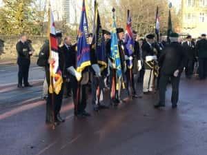 Armistice Day Ceremony at Burdon Road War Memorial. Image courtesy Adam Wood