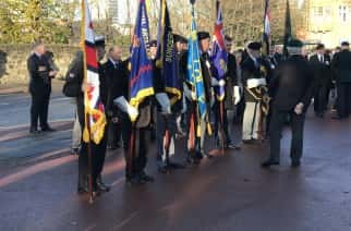 Armistice Day Ceremony at Burdon Road War Memorial. Image courtesy Adam Wood