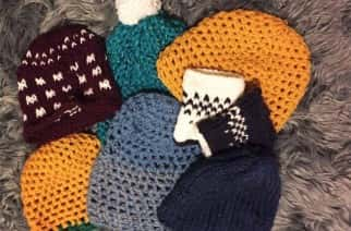 Whitley Bay knitter Beccy Owen's wooly hats for Syrian refugees/photo by Beccy Owen.