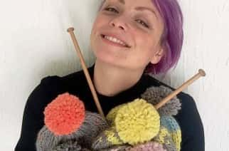 Beccy Owen with her knitting needles and wool.