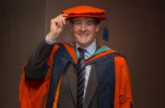 Colonel The Hon James Ramsbotham receives the Honorary Doctorate of Business Administration at the Sunderland University winter graduations at the Stadium of Light Picture: DAVID WOOD