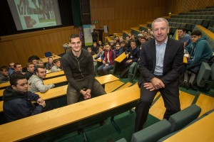 Sunderland AFC's Kevin Ball and Vito Mannone talk with Media students during the event at Sunderland University Picture: DAVID WOOD