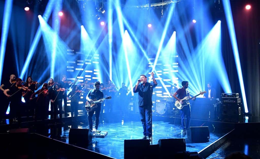 Elbow perform during the filming of the Graham Norton Show at The London Studios, south London, to be aired on BBC One on Friday evening.