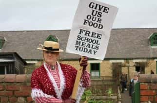 Miner families prepare to strike against school government bodies for free school meals in re-enactment