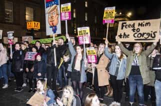 Newcastle protests against the potential State Visit of U.S. President Donald J. Trump