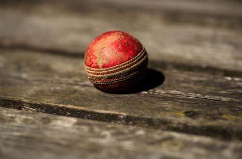 A general view of a worn cricket ball as a Kew Cricket Club's Sunday XIside  take on Lord Gnome's at the Kew Cricket Club