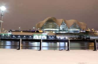 The Sage Music Centre in Gateshead after some overnight snow, as Scotland and the North of England were covered in a blanket of snow while the east coast was braced for a storm surge at Friday lunchtime.