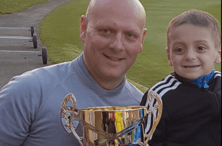 Andrew Brown and Bradley Lowery with the winners cup/photo by Emmerson Hird.