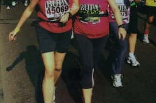 RUNNING TOGETHER: Jan and her sister running the Great North Run.
