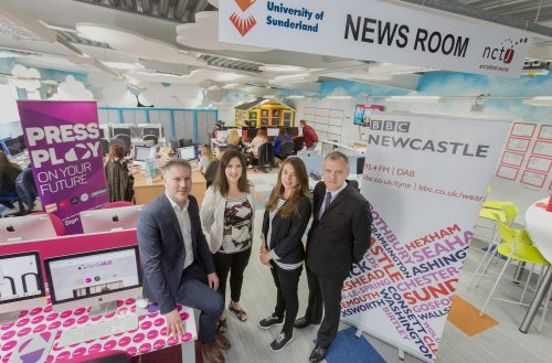 Journalism lecturer Lee Hall with MediaHUB newsroom manager India Adams-Norton from Sunderland University (left) with Doug Morris and Sophie McDonnell from BBC Newcastle. Picture by David Wood.