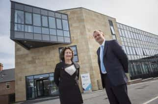 The Northern Powerhouse minister Jake Berry with Shirley Atkinson, Vice Chancellor of Sunderland University during his visit to the Hope Street XChange in Sunderland Picture by David Wood.