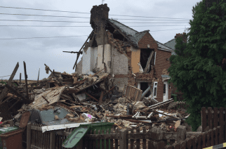 Explosion: One of the houses affected by the explosion on Rosslyn Avenue, Ryhope, in Sunderland, on 11/08/2017. Photo by: Tyne and Wear Fire and Rescue Service.