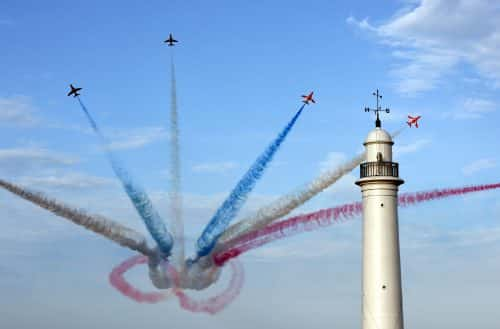 Sunderland Airshow: The Red Arrows at the Sunderland International Airshow on 21/07/2017. Photo by Sunderland City Council.    The Red Arrows performing their magnificent display over the coastline at Sunderland this evening  at the 2017 Sunderland Airshow   #NorthNewsAndPictures/2daymedia