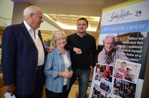 Andrew Robson (Sir Bobby's son), Lady Elsie and Steve Harper/photo by Sir Bobby Robson Foundation.