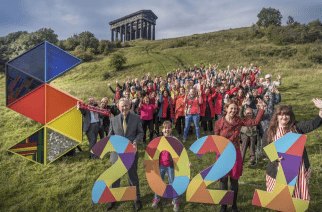 Standing Together: Some of supporters of the Sunderland 2021 bid at the Penshaw Monument in Sunderland/Photo by: Sunderland 2021.