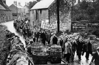 The Jarrow marchers pass through Lavendon on their way to protest in London over unemployment.