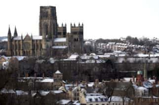 "A snow covered Durham Cathedral as Britain was due to be hit by a week of snow and freezing temperatures as the country's ""yo-yo"" weather continues."