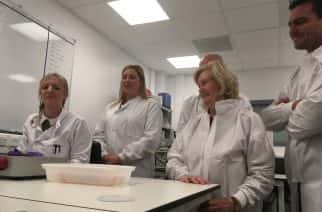 Science: From L-R: Stacey Weatherson, Sarah Lee Nicholson, Alan Shearer, Lady Elsie and Steve Harper at Molecular Pathology Node Proximity Lab at the Royal Victoria Infirmary in Newcastle on 22/11/2017. Photo credit: Sophie Dishman.