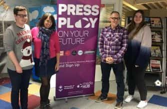 Alfie Joey and Anna Foster in the mediaHUB along with two interns who helped out as runners (Beth King and Liam Milburn)   Picture Credit: Louise Barber