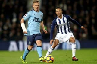 Newcastle United's Matt Richie(left) and West Bromwich Albion's Kieran Gibbs battle for the ball during the Premier League match at The Hawthorns, West Bromwich.