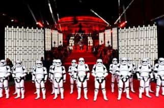 Review of the Year 2017: December: Stormtroopers during the European premiere of Star Wars: The Last Jedi, at the Royal Albert Hall, London.