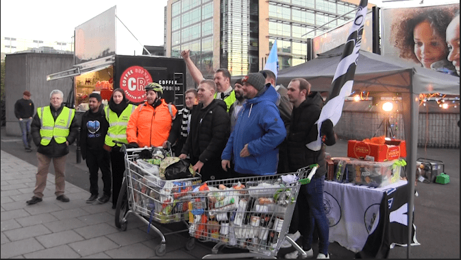 Newcastle United Fans Push Trolleys Full Of Food To St James